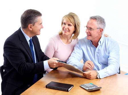 insurance consultant: Senior couple with financial adviser.