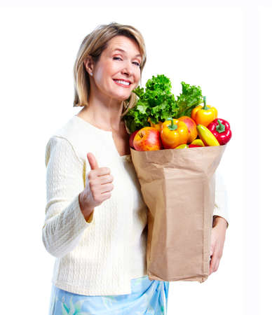 Senior woman with a shopping bag. photo