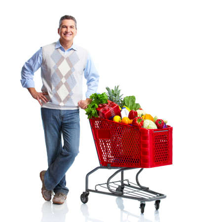 grocery cart: Man with a grocery shopping cart.
