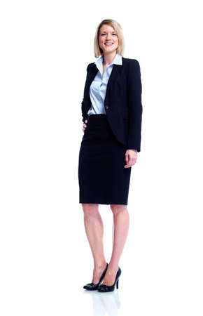 recepcionista: Joven mujer de negocios. Foto de archivo