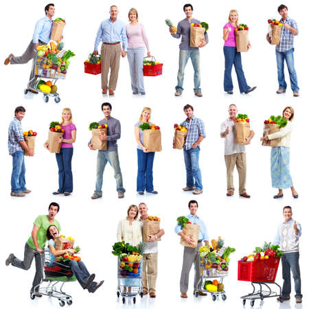 shopping trolley: People with a grocery cart. Stock Photo