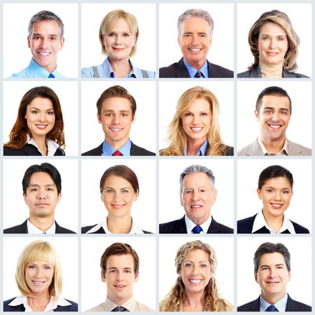 face to face: Business people team. Stock Photo