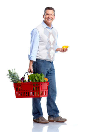 basket: Man with a shopping basket. Grocery.