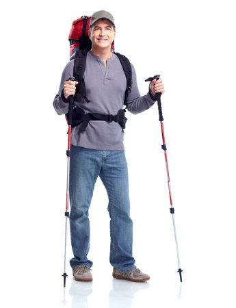 Hiker man tourist. Hiking. Stock Photo - 11454782