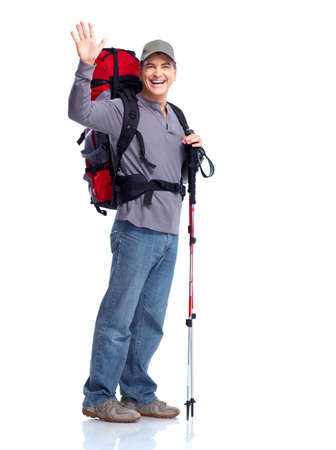 trekking pole: Hiker man tourist. Hiking. Stock Photo