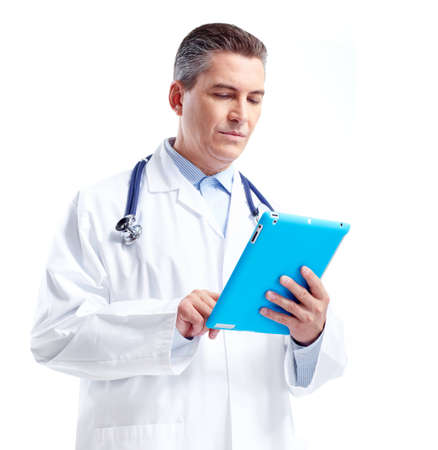 Smiling doctor with tablet computer. photo