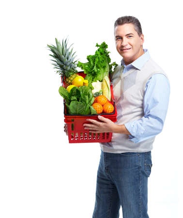 Man with a shopping basket. Grocery. photo