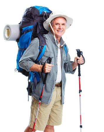 Turystyczna. Starszy turystyka czÅ'owiekiem. Zdjęcie Seryjne