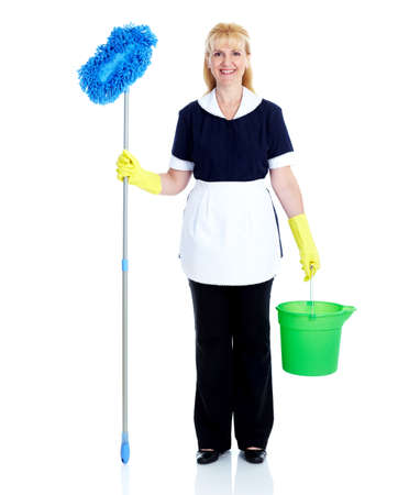 housemaid: Young smiling cleaner woman. Stock Photo