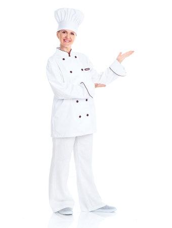 panadero: Hermosa mujer chef profesional.