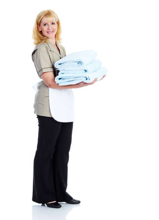 house maid: Smiling maid woman. Stock Photo