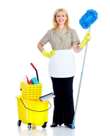 charlady: Young smiling cleaner woman. Stock Photo
