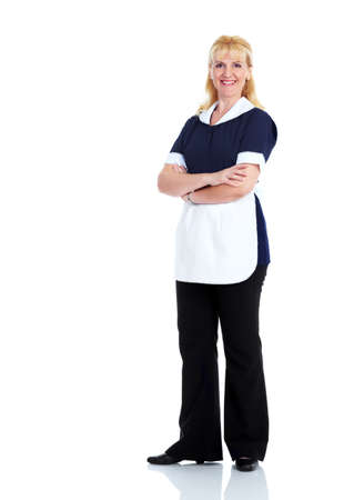 housemaid: Smiling maid woman. Stock Photo