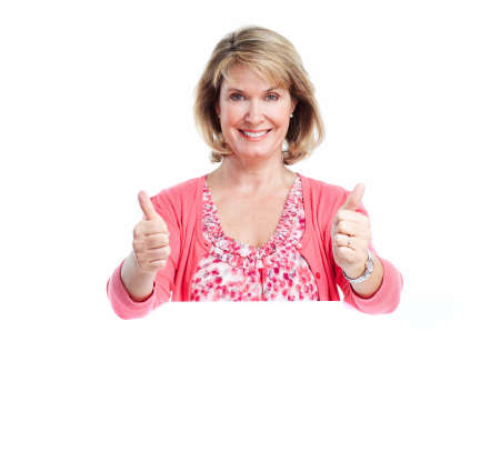 Senior smiling woman with banner. photo
