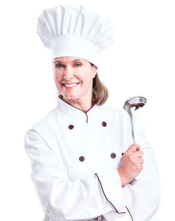 Beautiful professional chef woman. photo