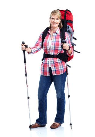 Tourist. Senior woman hiking. photo