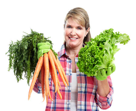 leasure: Senior woman with vegetables.