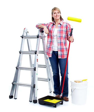Senior woman doing renowation at home. Painter. Stock Photo - 11456582