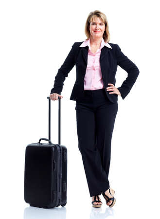 Smiling business woman with suitcase.