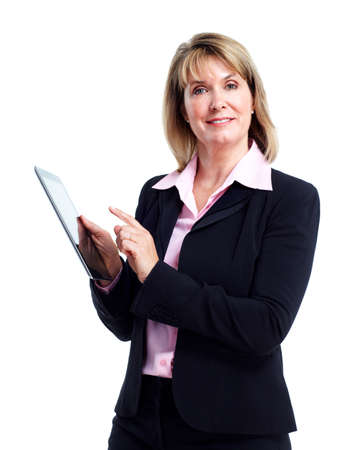 Smiling business woman with tablet computer. photo