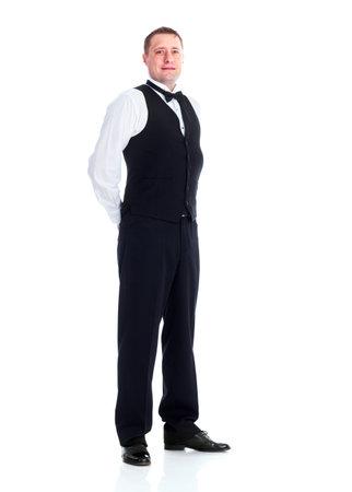 Smiling handsome waiter man. photo