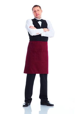 hotel staff: Smiling handsome waiter man. Stock Photo