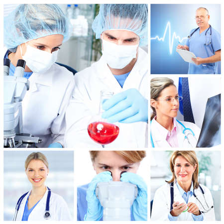 Medical doctors  in a laboratory. Collage. Stock Photo - 11467716