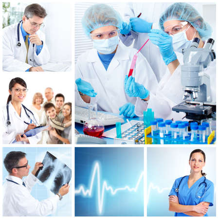 optical instrument: Medical doctors  in a laboratory. Collage.
