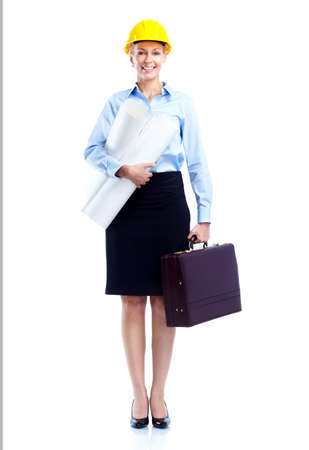 industrial worker: Smiling business woman engineer. Stock Photo