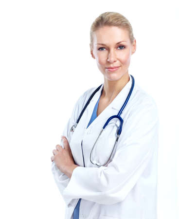 white coats: Professional medical woman doctor. Stock Photo