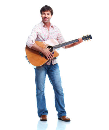cool guy: Happy man with guitar. Stock Photo