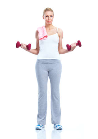 Fitness woman with dumbbells. Sport. photo