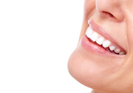 Mooie vrouw glimlach en tanden.