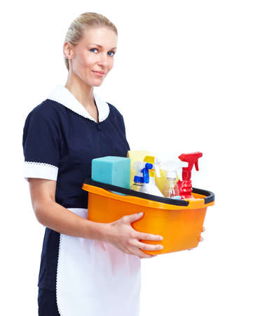 hotel staff: Smiling maid woman. Stock Photo