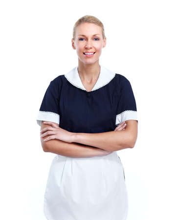 dirty blond: Smiling maid woman. Stock Photo