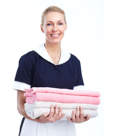 hotel worker: Smiling maid woman. Stock Photo