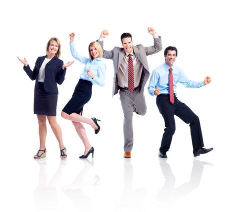 gente loca: Gente de negocios feliz de equipo.