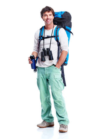 backpackers: Tourist. Young man hiking.
