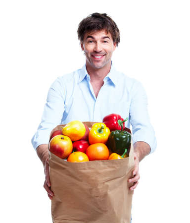 Man with a grocery bag. photo