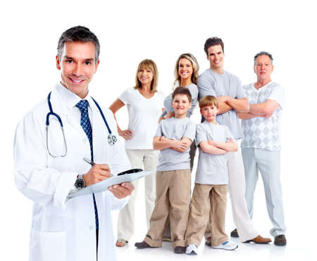 family health: Family doctor and patients.