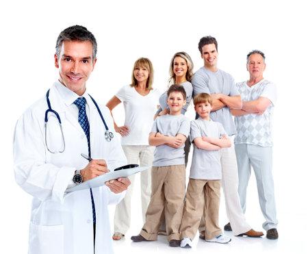 oefenen: Huisarts en patiënten. Stockfoto