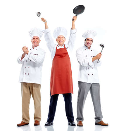 professional chef: Chef group. Cooking. Stock Photo