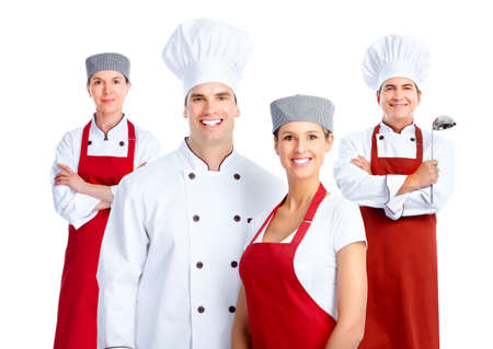 restaurant staff: Chef group. Cooking. Stock Photo