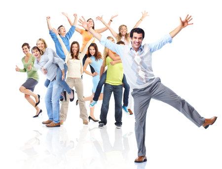 persone che ballano: Gruppo di persone felici. Archivio Fotografico