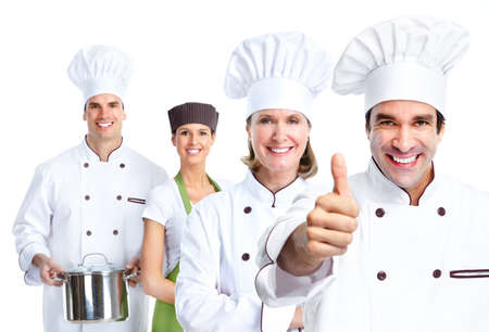 chef cooking: Chef group. Cooking. Stock Photo