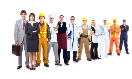 Group of industrial workers. photo