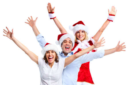st nick: Christmas party. Happy people. Stock Photo
