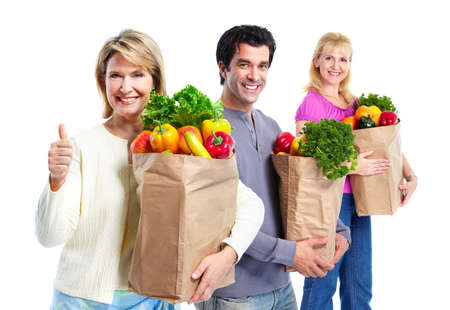 Happy people with a grocery shopping bag.