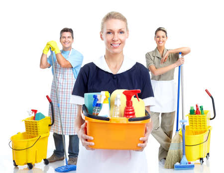 cleaning services: Young smiling cleaner woman. Stock Photo