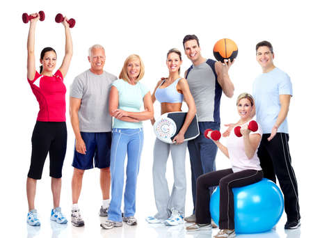 family exercise: Gym and Fitness. Smiling people.
